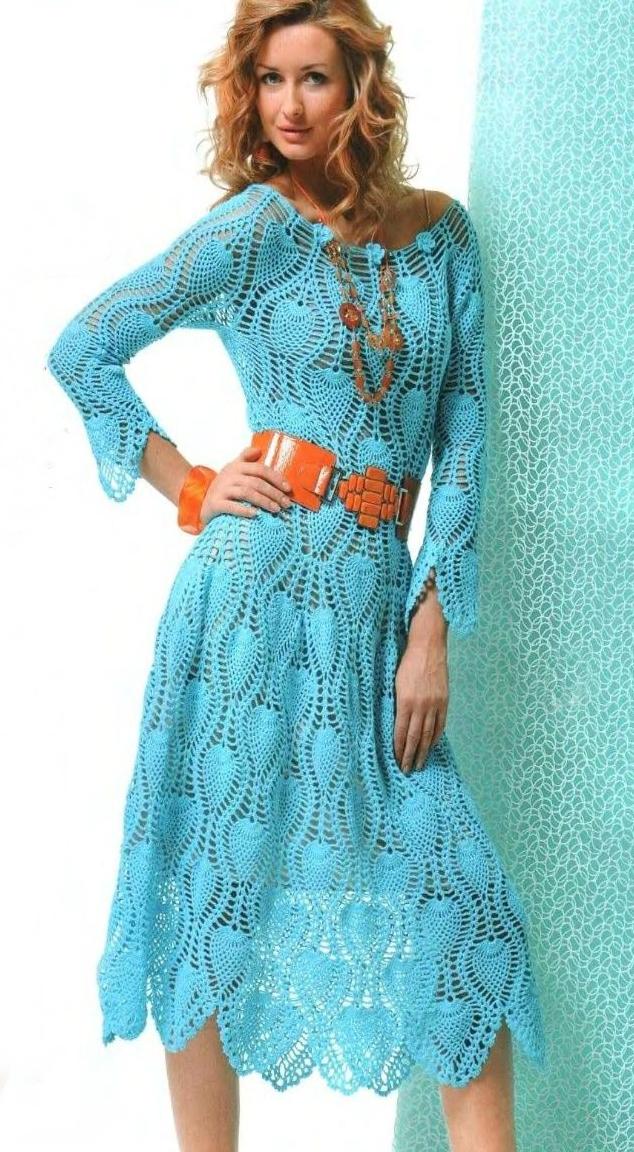 Платье крючком узором ананас схема
