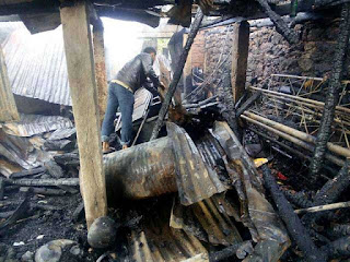 fire destroyed house in Ranju valley