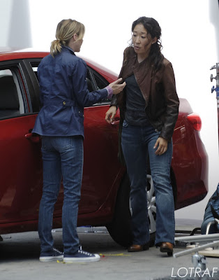 Sandra Oh and Ellen Pompeo film a scene on the set of Grey's Anatomy