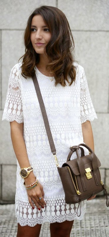Wearing a Romantic Spring Outfit with White Lace Dress and Mini Bag