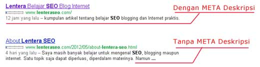 meta deskripsi dalam website