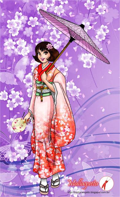 Monica usando kimono