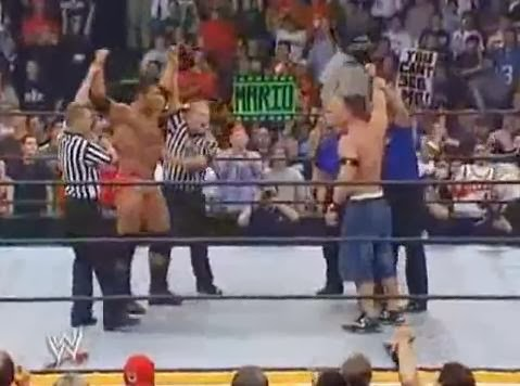 Batista John Cena 2005 Royal Rumble finish botch double elimination