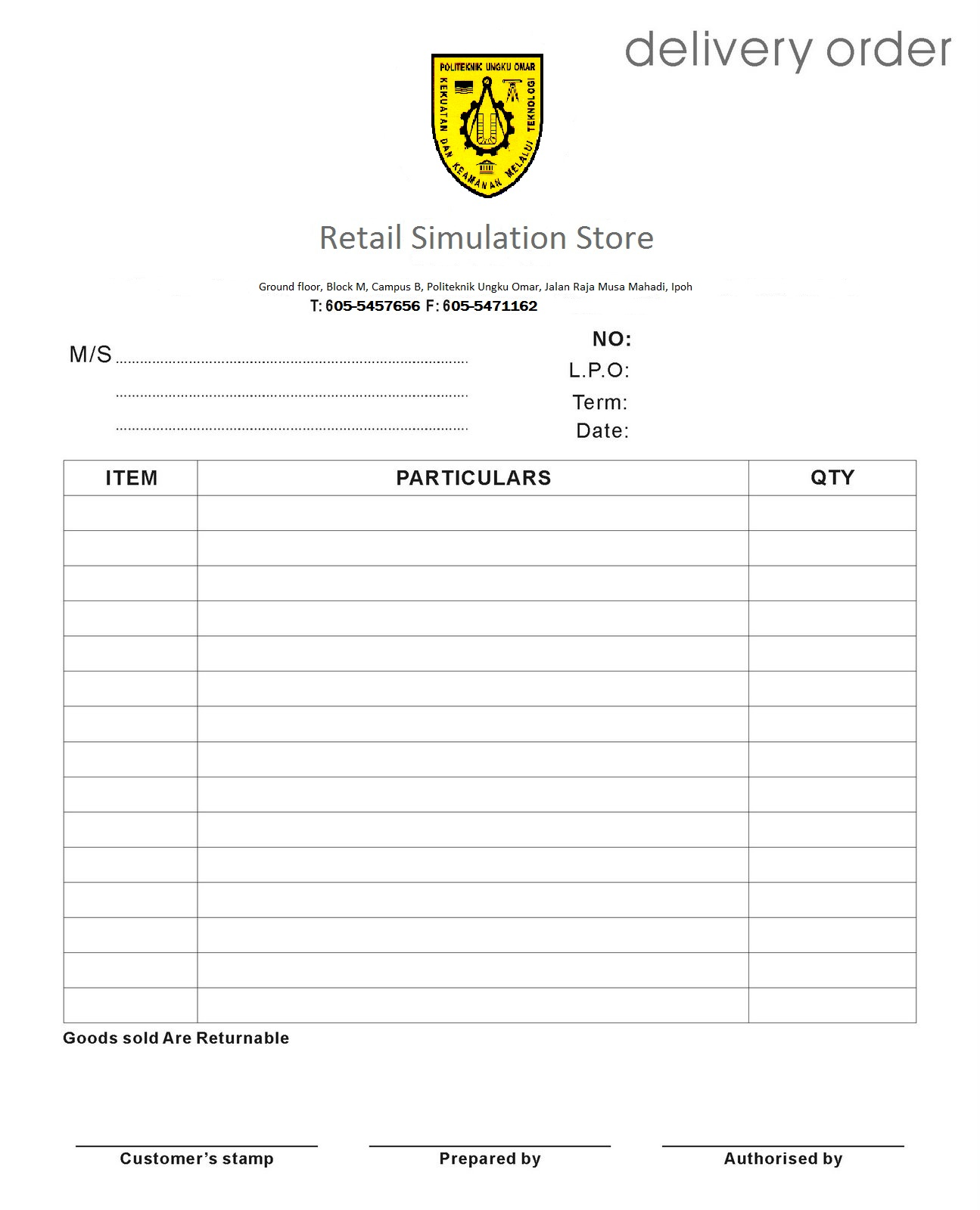 delivery order template .