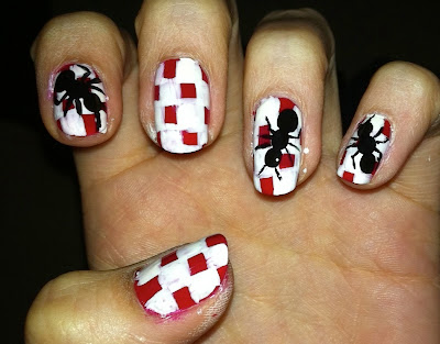 ants, nail art, picnic, tablecloth, red, white, black
