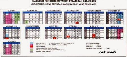Kalender Pendidikan Tahun Ajaran 2014-2015