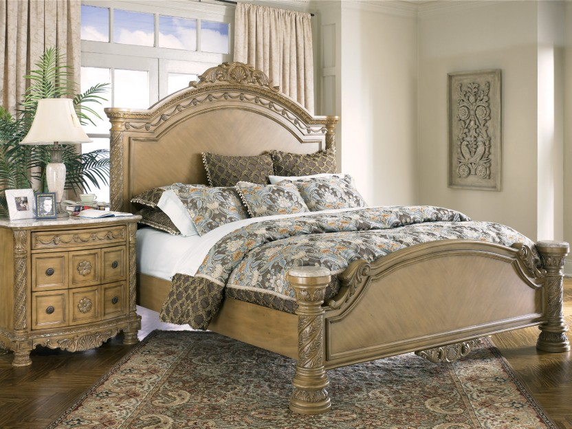 antique royal solid wood furniture bedroom in luxury home