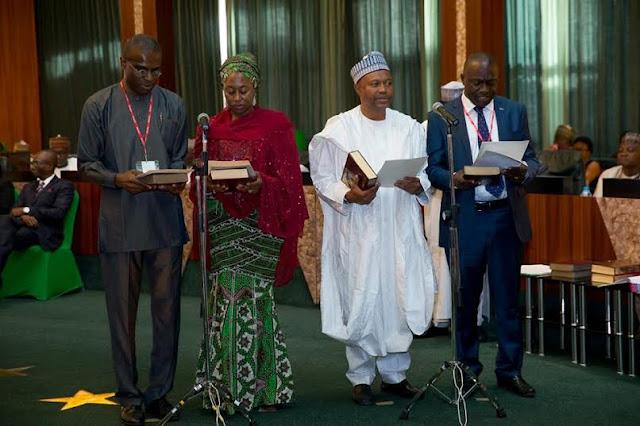 Buhari Swears In New Permanent Secretaries