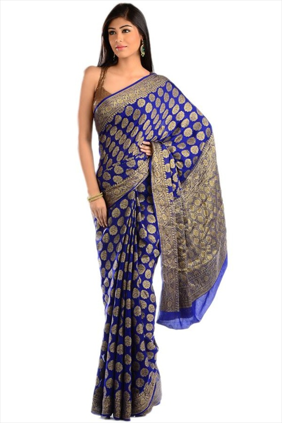 Royal Blue Georgette Banarasi Saree