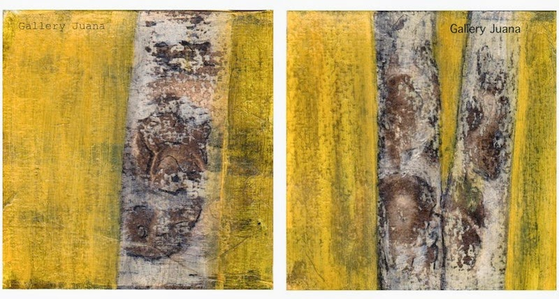 birch trees, mixed media art tutorial, gallery juana
