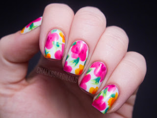hawaiian floral nail art