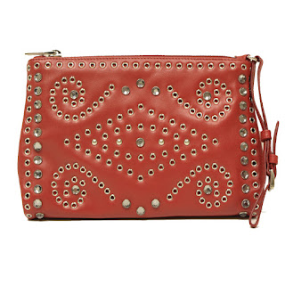 Prada Rosso Soft Calf Borch Leather Studded Wristlet 1N1825