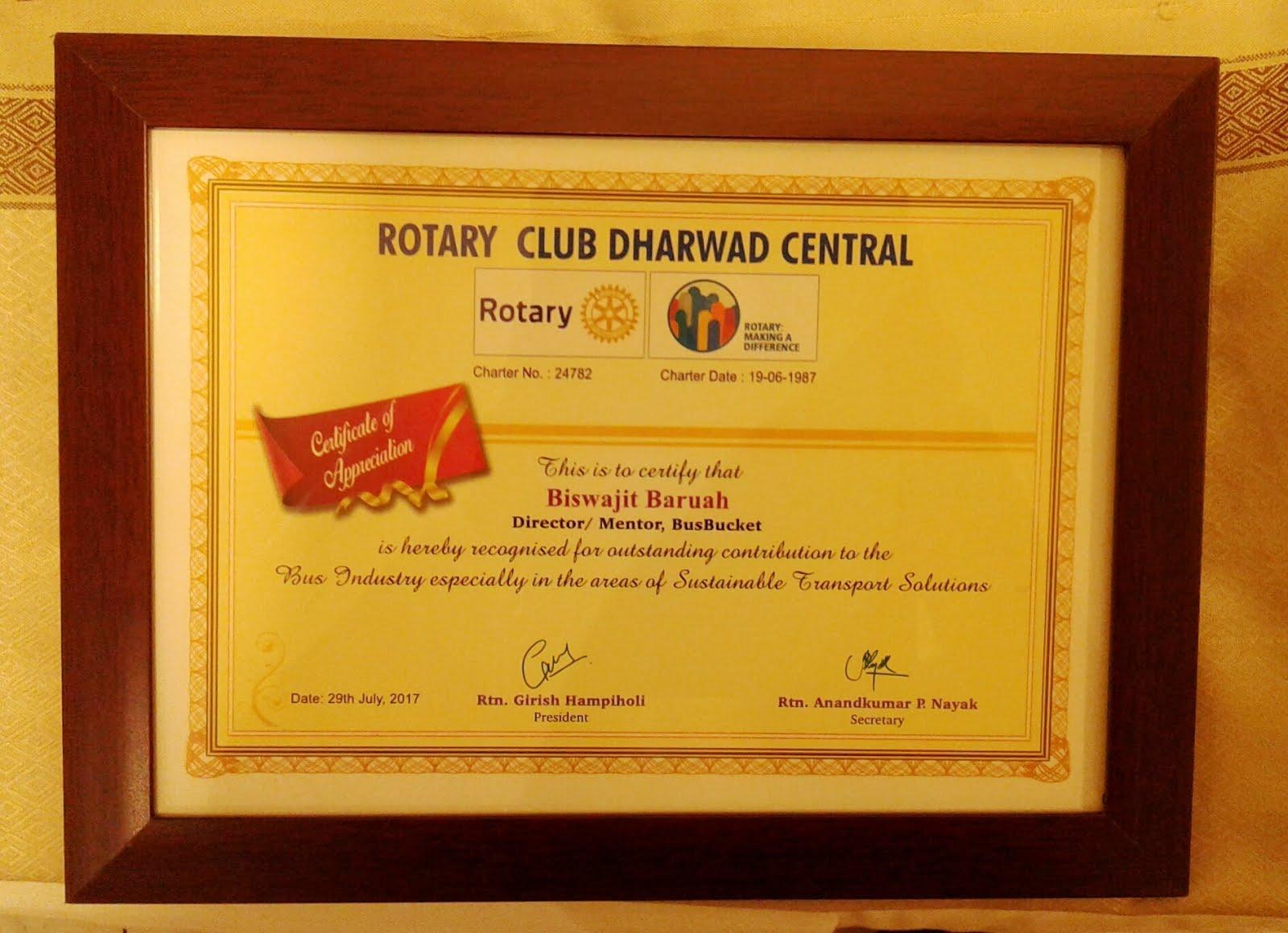 Felicitation by Rotary Club of Dharwad Central, Karnataka