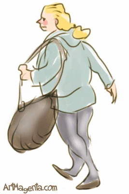 A lady's handbag is a gesture drawing don on an iphone by artist and illustrator Artmagenta