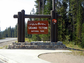 Grand Teton National Park welcome sign in Wyoming