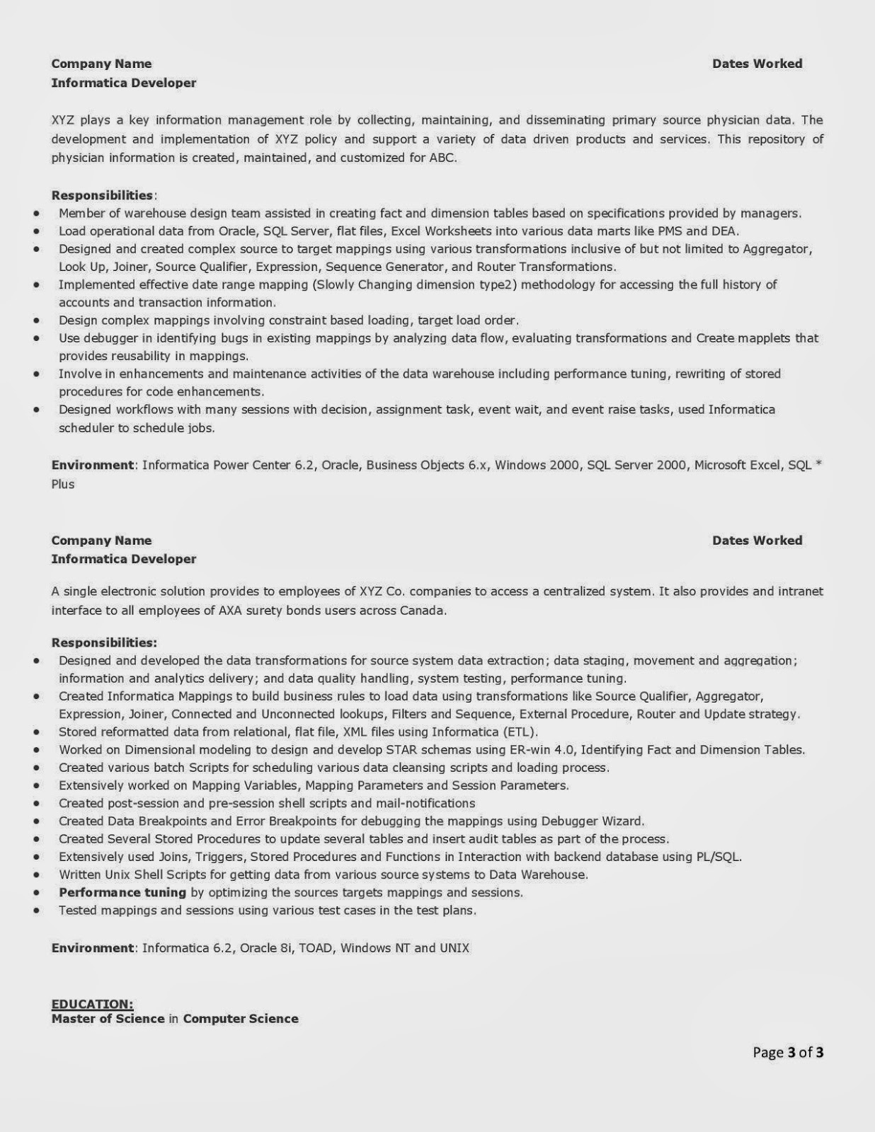 resume informatica developer informatica resume by pcherukumalla desi consultancies in the united states sample informatica resumes