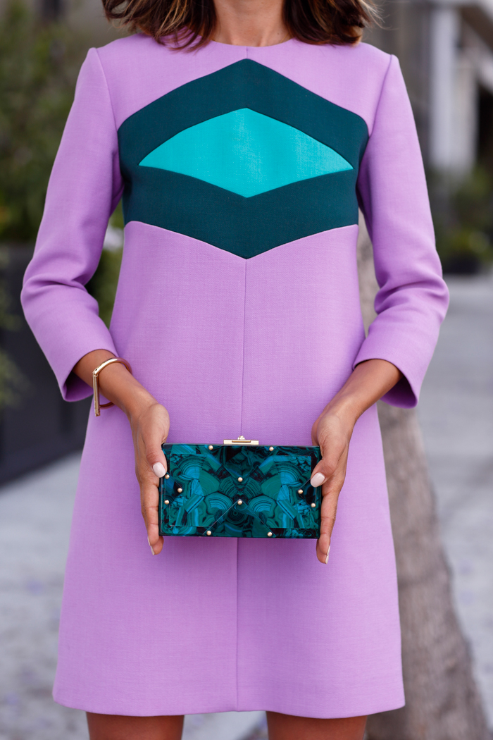 RAFE Alicia lucite clutch bag in malachite