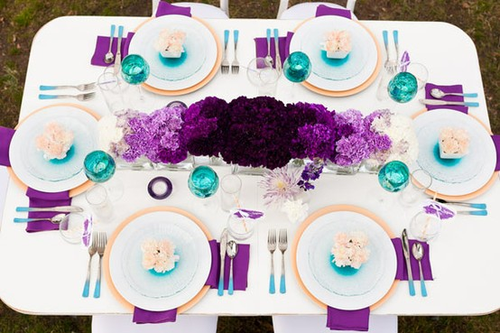 Amare events purple teal table setting