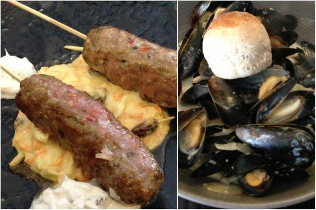 Kofta de cordero y mejillones en el Restaurante La Stella en Aberdeen