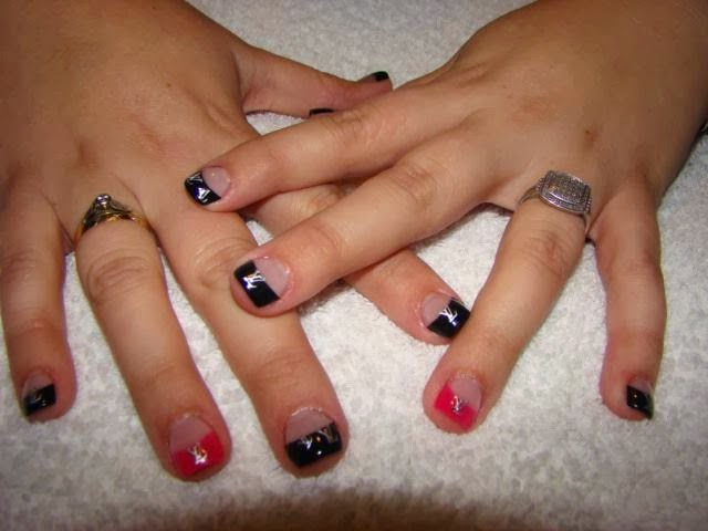 Liquorice black and hot pink tips with LV silver logos