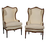 Pair of Louis XVI Style Wing Bergeres
