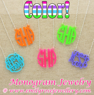 acrylic monogram initial necklaces