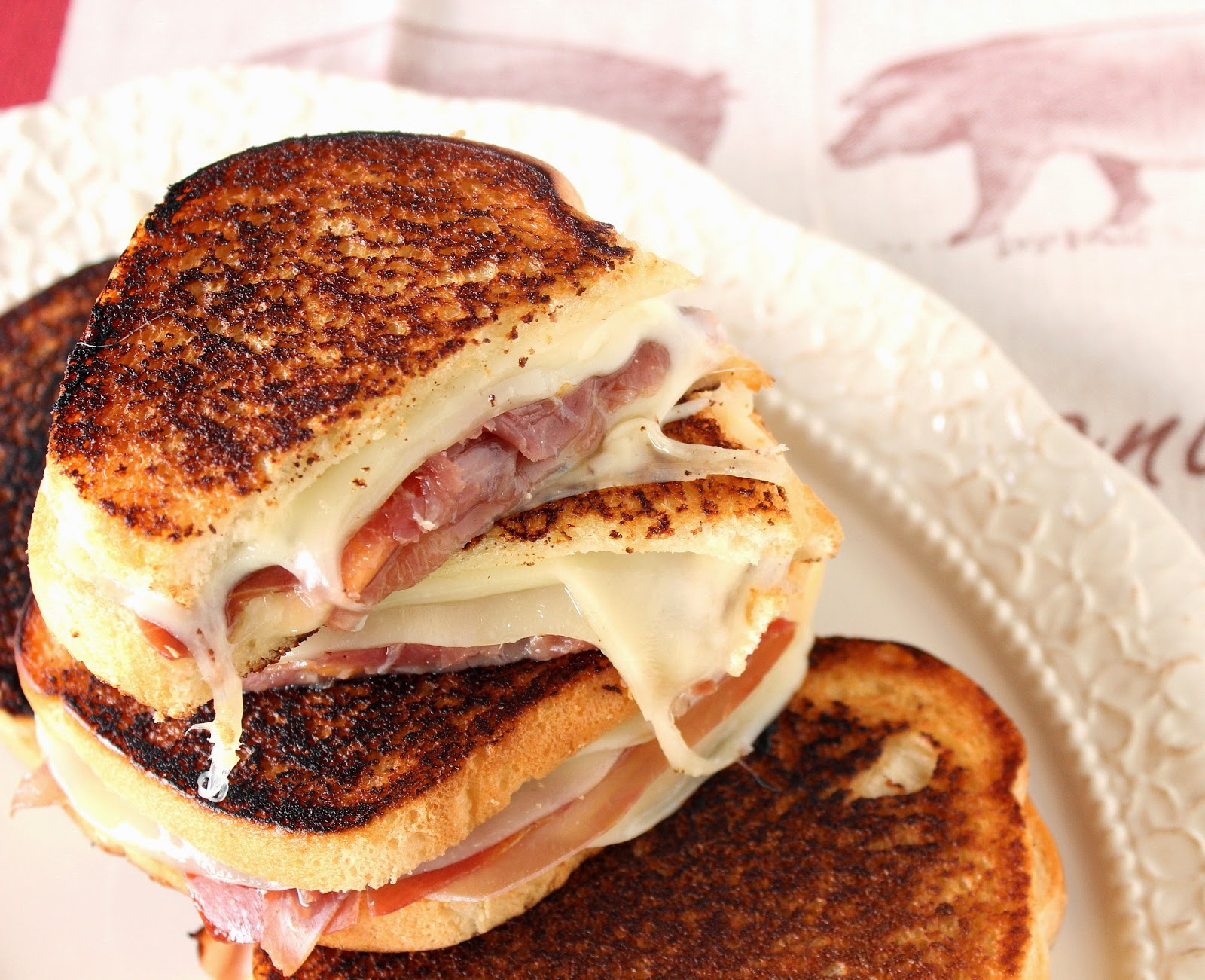 Prosciutto, Melon and Provolone Grilled Cheese Recipe via Kudos Kitchen By Renee
