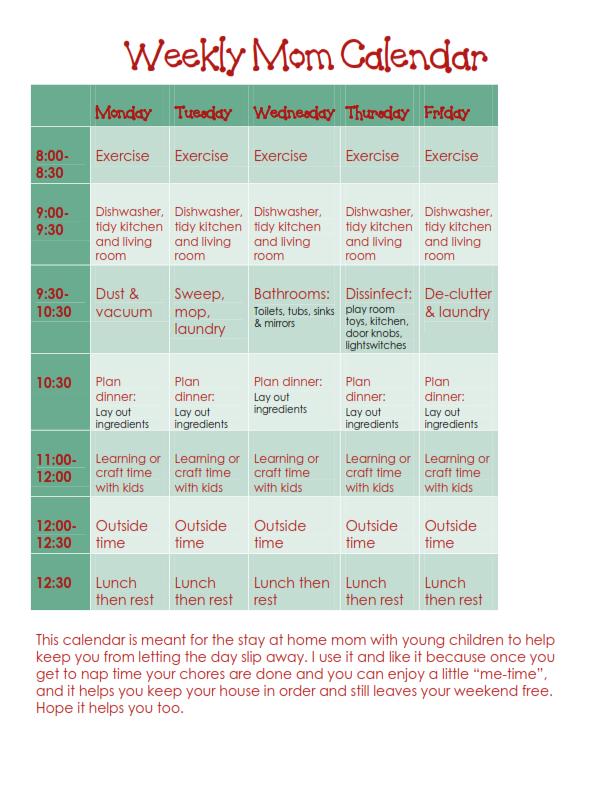Mom First...Teacher Second: Mom weekly calendar