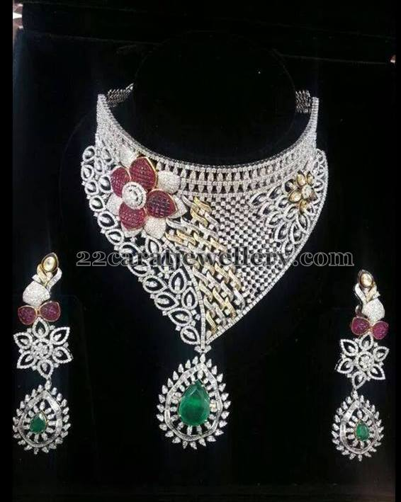 Detacahble Heavy Diamond Bridal Set Jewellery Designs