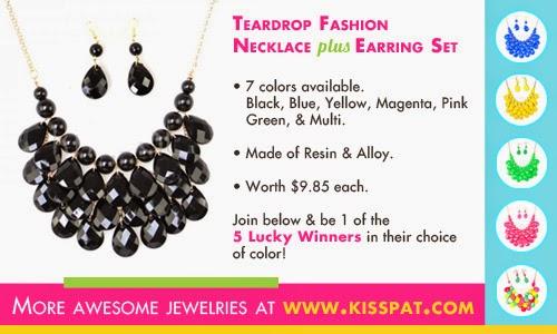 Teardrop Fashion Necklace Earring Set