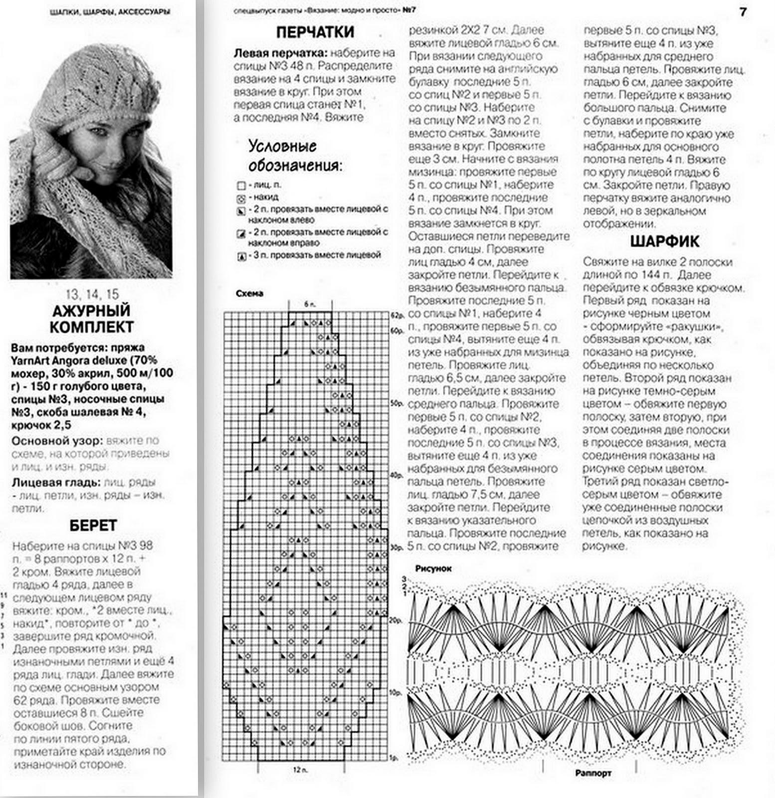 Схема вязания спицами ажурный шарф 11 фотография