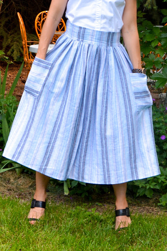 aesthetic nest sewing linen midi skirt with patch