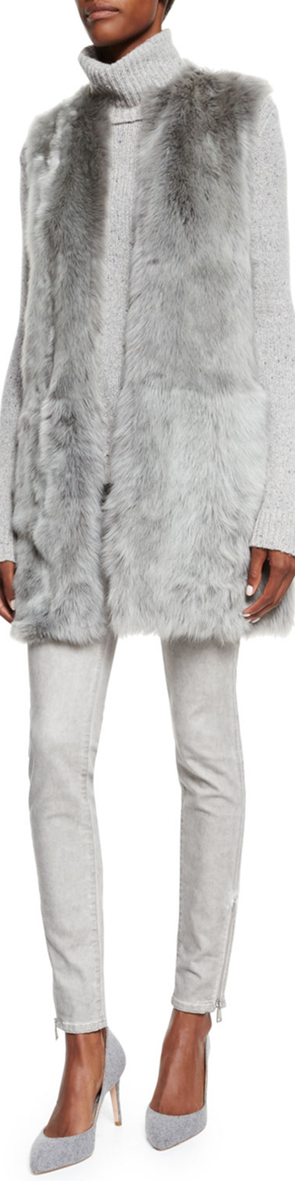 Ralph Lauren Black Label Long Shearling Fur Vest, Light Gray