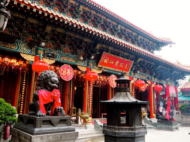 Exterior of Sik Sik Yuen Wong Tai Sin Temple, with traditional Chinese architecture and decoration design | Hong Kong