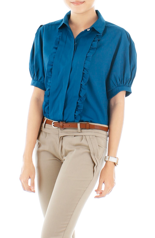 Courtroom Ruffle Blouse – Azure Blue