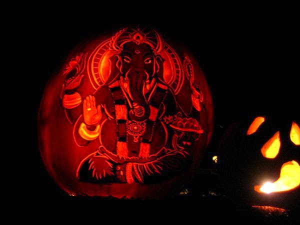 Ganesh pumpkin carving, cool carvings, cool carvings pictures