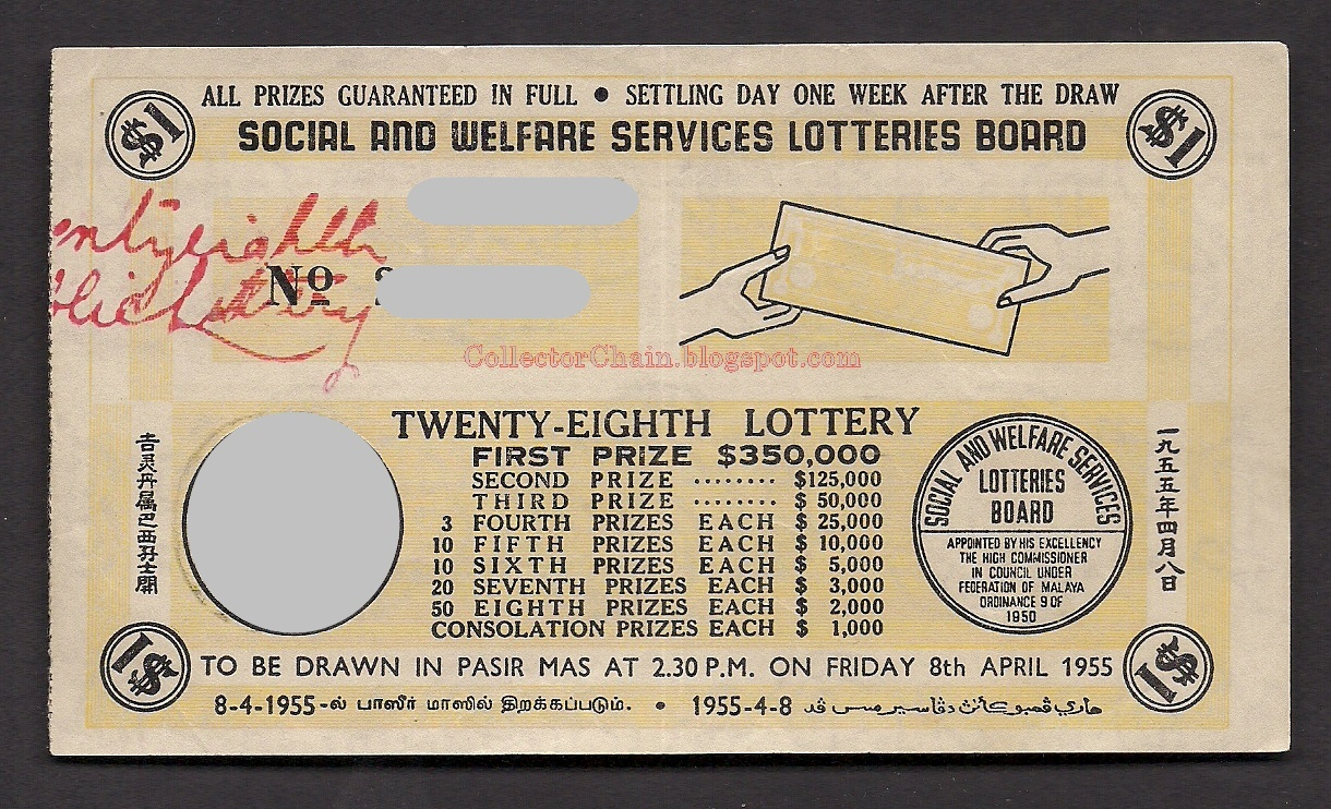 Old Lottery Ticket Malaysia 1950s  Rare