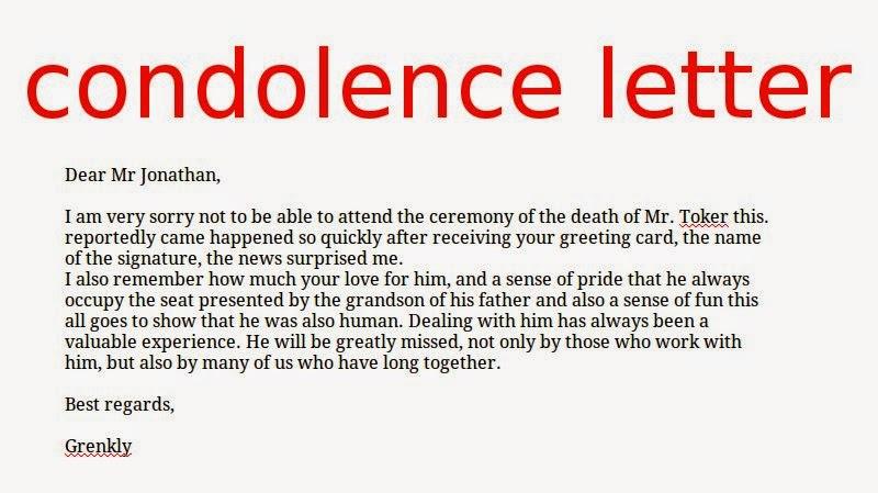 Condolence Letter Sample Sympathy Condolence Letter  A Sympathy