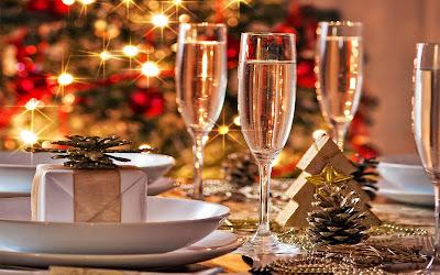 Papel de Parede Natal Taças de Champagne New Year celebration wallpaper