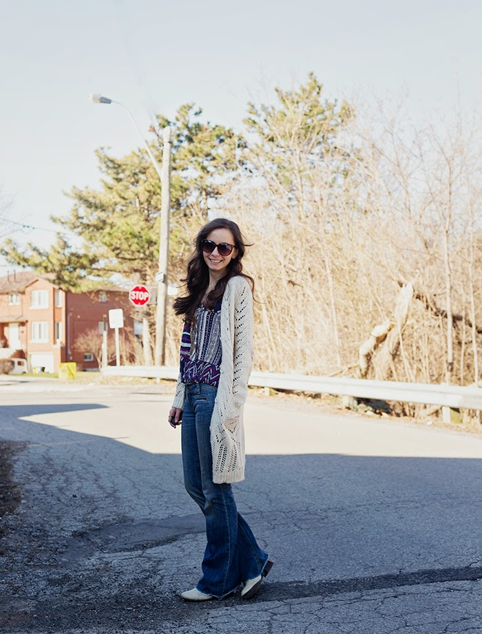Tribal-Shirt-flared-jeans-raw-edge-cardigan