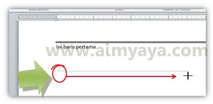Gambar: Cara membuat garis lurus horizontal dengan object/shape line di microsoft word 2010