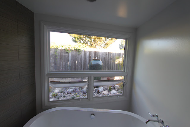 mid-century modern bathroom window after picture