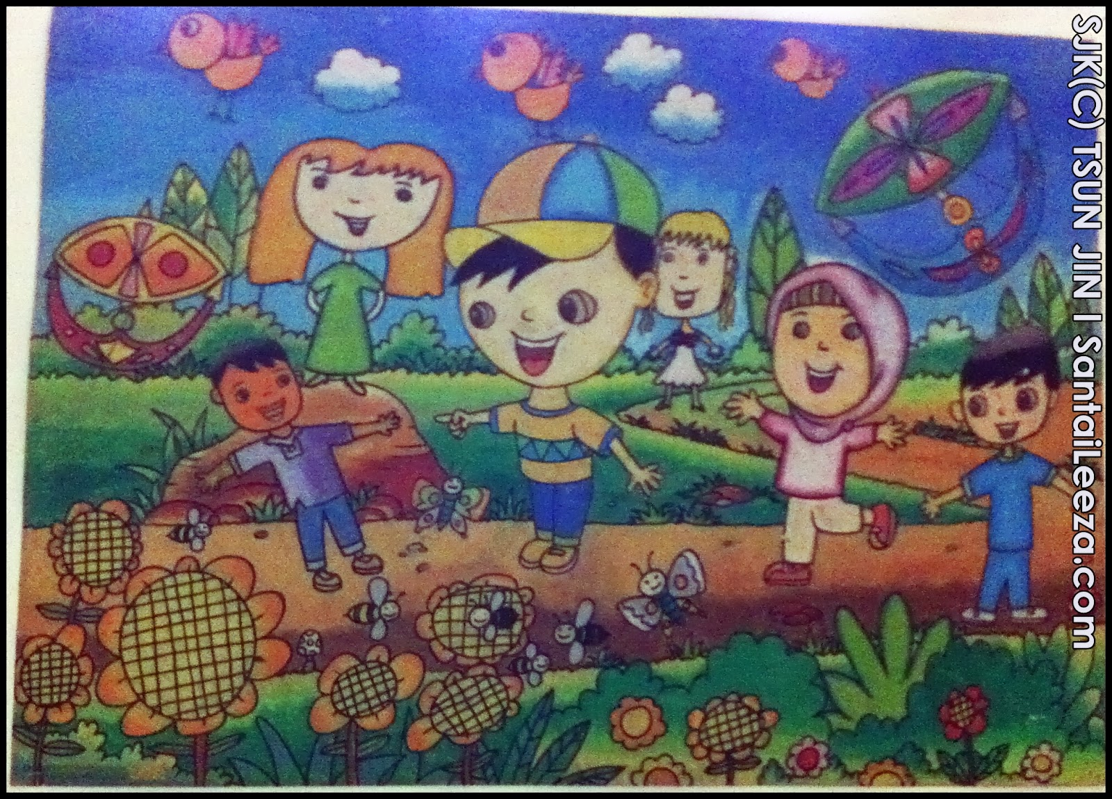 Gambar cantik pond lukisan minyak kanvas cetak lanskap for Mural untuk kanak kanak