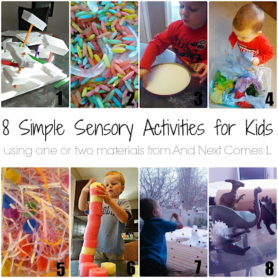 8 simple sensory activities for kids that use one or two materials from And Next Comes L