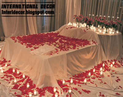 Beautiful Romantic Bedroom Decorating Ideas For Valentineu0027s Day 2013 By Red Flowers  And Candles