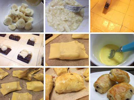 Stap voor stap recept om bananentaart te maken met bladerdeeg en chocolade