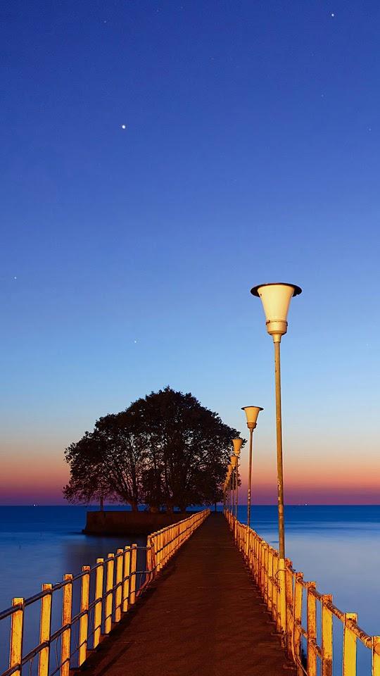 Bridge Into Ocean Sunset  Galaxy Note HD Wallpaper