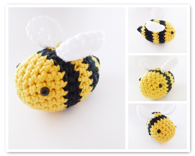 "alt=""crocheted bee how to"""