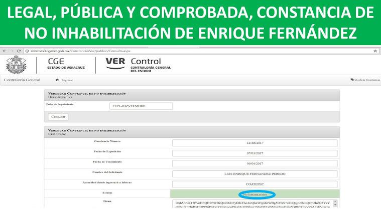 LEGAL, PÚBLICA Y COMPROBADA, CONSTANCIA DE NO INHABILITACIÓN DE ENRIQUE FERNÁNDEZ