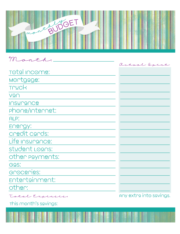 Heather Rolin: Free Monthly Budget Printable